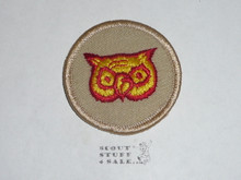 Owl Patrol Medallion, Tan Twill with Plastic Back