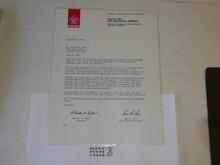 1986 Letter from Ben Love & BSA President congratulating a 50 year veteran, on National BSA Letterhead, laminated