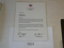 1996 Letter from Jere Ratcliffe & BSA President congratulating a 60 year veteran, on National BSA Letterhead, laminated
