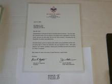 1996 Letter from Jere Ratcliffe & BSA President congratulating a 60 year veteran, on National BSA Letterhead, laminated
