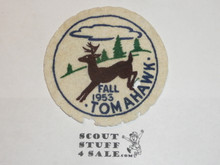Camp Tomahawk, 1953 Fall Patch, Felt, lt mothing and litely sewn