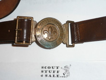 "1967 Boy Scout World Jamboree Official Leather Belt with Brass Buckle, adjustible up to ~38"", Lite use with a little discoloration on buckle"