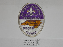 1967 Boy Scout World Jamboree North Carolina Troop Contingent Patch