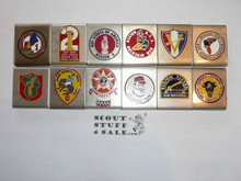 1969 National Jamboree Region Belt Loop Set, all 12 Original Regions Represented