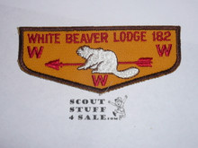 Order of the Arrow Lodge #182 White Beaver f2 Flap Patch