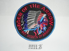 Order of the Arrow Multi color Indian Head Logo Jacket Patch, plastic backed, black background and lt blue bdr