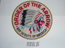 Order of the Arrow Multi color Indian Head Logo Jacket Patch, plastic backed, tan background and gold mylar blue bdr