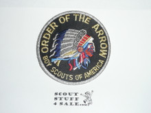 Order of the Arrow Multi color Indian Head Logo Patch, black background and silver mylar blue bdr