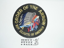Order of the Arrow Multi color Indian Head Logo Patch, black background and black bdr