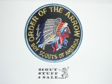 Order of the Arrow Multi color Indian Head Logo Patch, black background and light bdr