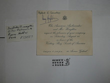 1959 World Jamboree, Invitation to US Ambassador Reception for the BSA members, signed by Ambassador