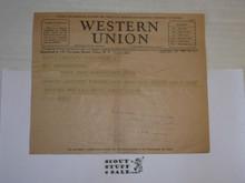 1929 World Jamboree, Western Union Telegram home from American Contingent Member from Jamboree Site