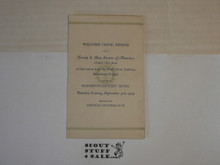 1929 World Jamboree, Welcome Home Dinner card for USA Contingent troop from Elizabeth NJ