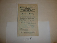 1933 World Jamboree Preliminary Certificate of Discharge for USA/BSA Contingent Member