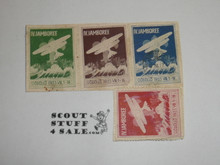 1933 World Jamboree, 4 different Stams, Appears to have been cut from an envelope