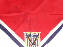1959 World Jamboree, USA/BSA Contingent Neckerchief signed by Troop members and Arthur Schuck Chief Scout Executive