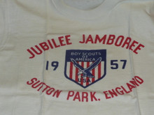 1957 World Jamboree, USA/BSA Contingent Tee Shirt, Adult Large, Lite use