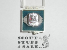 Eagle Scout Ring, 1940's STERLING Silver, Mint Condition, Size unknown, Can be sized to fit