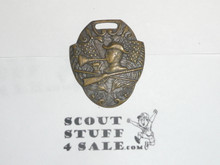 Bronze Boy Scout Watch Fob; Crossed Flags, Rifle, and Bugle