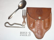 1960's Official Boy Scout Utensil Set, Fork & Spoon with Case Only, Made By Schrade, With Plastic Case