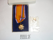 Bronze Pelican Catholic Adult Boy Scout Religious Neck Ribbon Medal and Lapel Pin, MINT