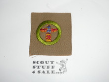 Wood Carving - Type A - Square Tan Merit Badge (1911-1933)