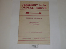 Ordeal Ceremony Manual, Order of the Arrow, 1951, 10-51 Printing, used