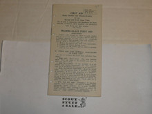 Lefax Boy Scout Fieldbook Insert,First Aid Study Guide for 2nd & 1st Class, 1924 Bronx Council