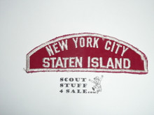 New York City Staten Island Council Red/White Council Strip, Used - Scout