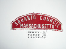 Squanto Council Red/White Council Strip, Used - Scout