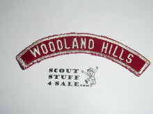 WOODLAND HILLS Red and White Community Strip, used
