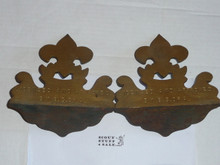 bronze boy scout book ends, pair, heavy, 6.25 wide by 6.25 tall