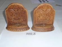 boy scout sorrocco pressed wood book ends, 4 wide by 5.25 tall