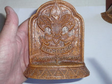 boy scout sorrocco pressed wood book ends, 4 wide by 5.25 tall, one has been repaired, has minor chips