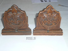 boy scout sorrocco pressed wood book ends, 5.25 wide by 5.25, shield type