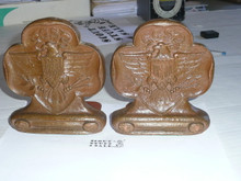girl scout sorrocco pressed wood book ends, 5 wide by 5.75 high