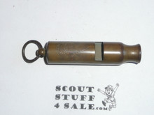 tubular boy scout whistle, teen-20s, with stamped boy scout emblem and the boys scouts of america, brass