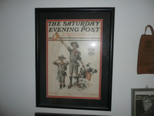 framed and matted september 2 1911 Saturday evening post magazine cover of boy scouts signaling , professionally framed archival matte, 14 wide by 18.25 tall