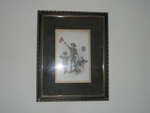 full color book plate of signaling boy scouts from the teens, professionally framed and matted 9in. Wide by 11.25 high