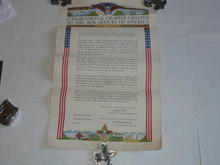 color poster of the congressional charter granted to the boy scouts in 1916, a little wrinkled but overall very good condition, good for framing, 12.5 wide by 19.25 tall