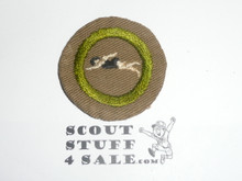 Swimming - Type B - Wide Crimped Bdr Tan Merit Badge (1934-1935)