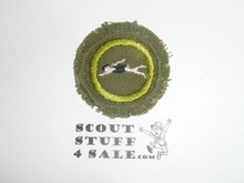 Swimming - Type E - Khaki Crimped Merit Badge (1947-1960), used