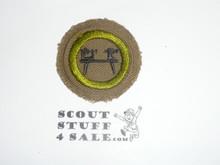 Wood Turning - Type C - Tan Crimped Merit Badge (1936-1946)