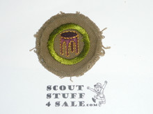 Woodwork - Type B - Wide Crimped Bdr Tan Merit Badge (1934-1935)