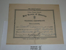 1931 Fulton County Council Training Certificate, presented