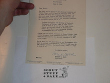 1950 National Jamboree Letter from President of Balimore Area Council to Contingent member