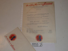 1950 National Jamboree Letter to Professional Scouters on Jamboree letterhead with Envelope