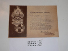1953 National Jamboree Santa Fe Railroad Welcome Card and Map
