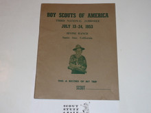 1953 National Jamboree Trip Record / Diary