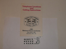 1985 National Jamboree Telephone Locations & Calling Instruction Guide